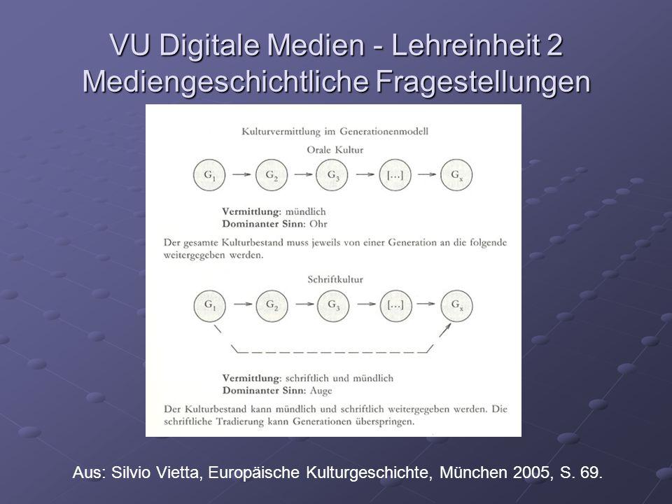 VU Digitale Medien - Lehreinheit 2 Mediengeschichtliche Fragestellungen Aus: Silvio Vietta, Europäische Kulturgeschichte, München 2005, S.