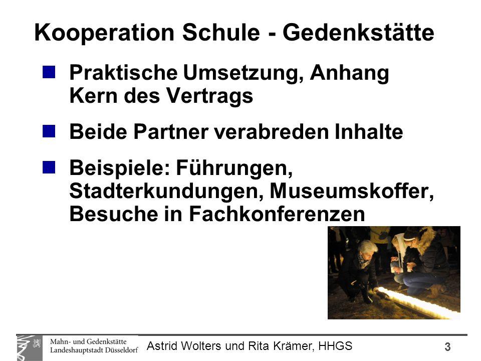 3 Astrid Wolters und Rita Krämer, HHGS Praktische Umsetzung, Anhang Kern des Vertrags Beide Partner verabreden Inhalte Beispiele: Führungen, Stadterku