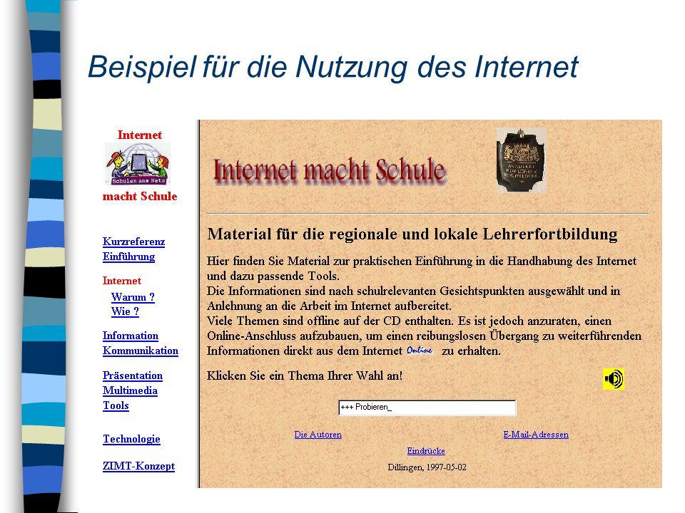 Beispiel für die Nutzung des Internet
