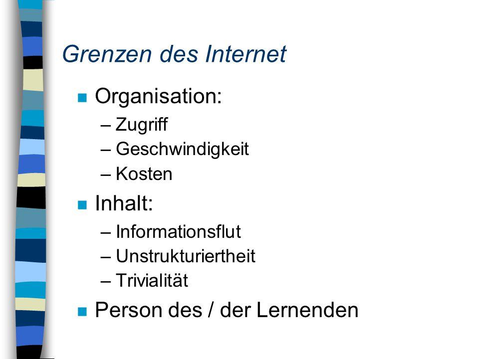 Grenzen des Internet n Organisation: –Zugriff –Geschwindigkeit –Kosten n Inhalt: –Informationsflut –Unstrukturiertheit –Trivialität n Person des / der Lernenden