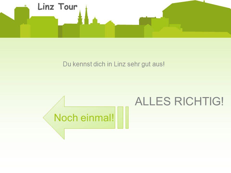 ALLES RICHTIG! Du kennst dich in Linz sehr gut aus! Noch einmal!