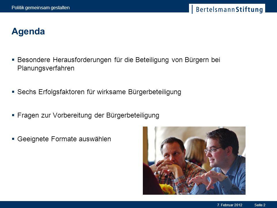 Hauptkritikpunkte 7. Februar 2012 Politik gemeinsam gestalten Seite 3