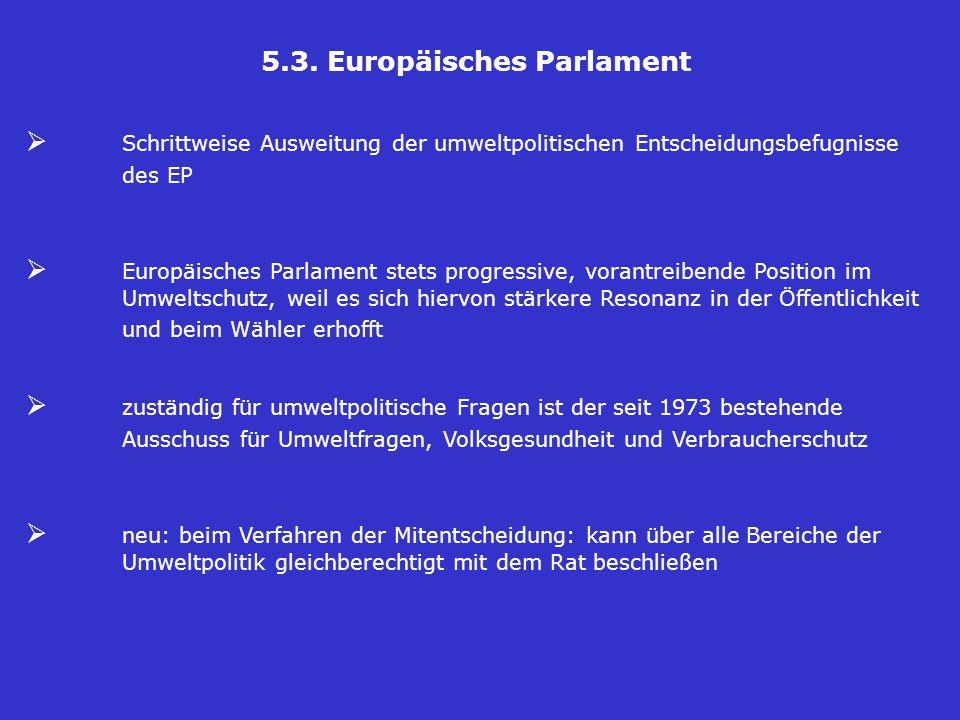 5.3. Europäisches Parlament  Schrittweise Ausweitung der umweltpolitischen Entscheidungsbefugnisse des EP  Europäisches Parlament stets progressive,