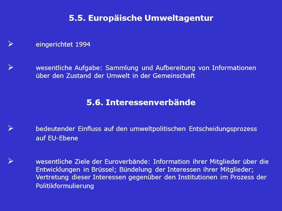 5.5. Europäische Umweltagentur  eingerichtet 1994  wesentliche Aufgabe: Sammlung und Aufbereitung von Informationen über den Zustand der Umwelt in d