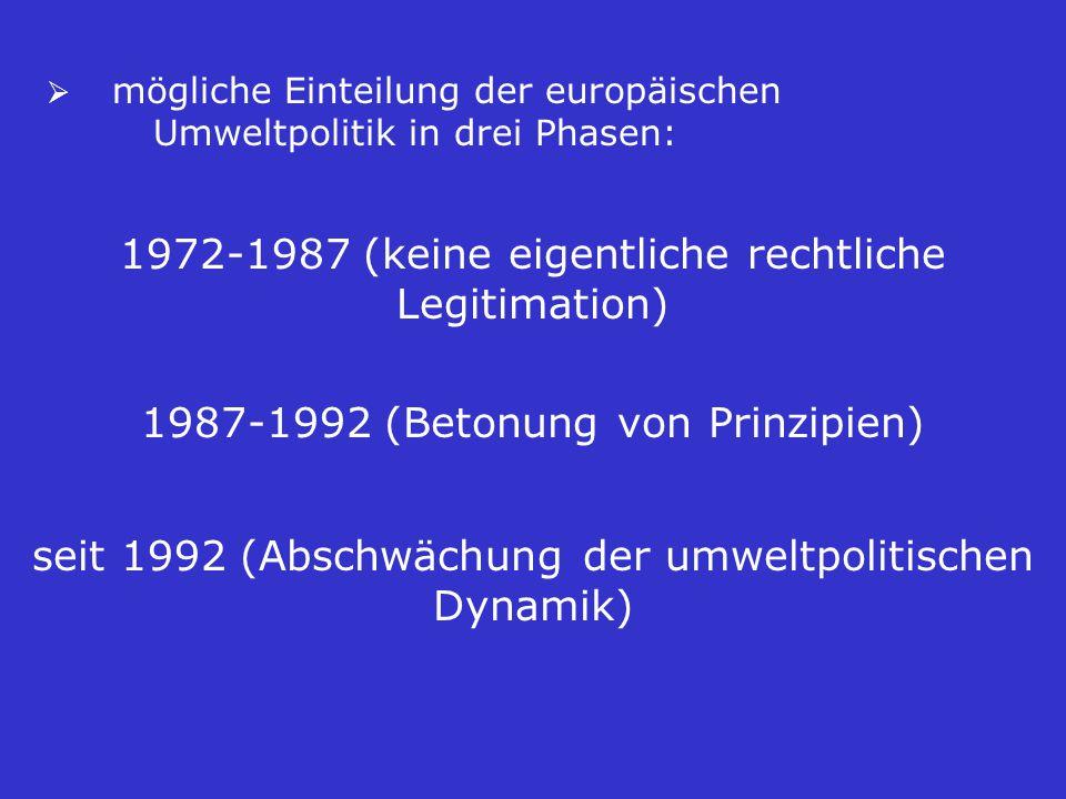 mögliche Einteilung der europäischen Umweltpolitik in drei Phasen: 1972-1987 (keine eigentliche rechtliche Legitimation) 1987-1992 (Betonung von Prinzipien) seit 1992 (Abschwächung der umweltpolitischen Dynamik)