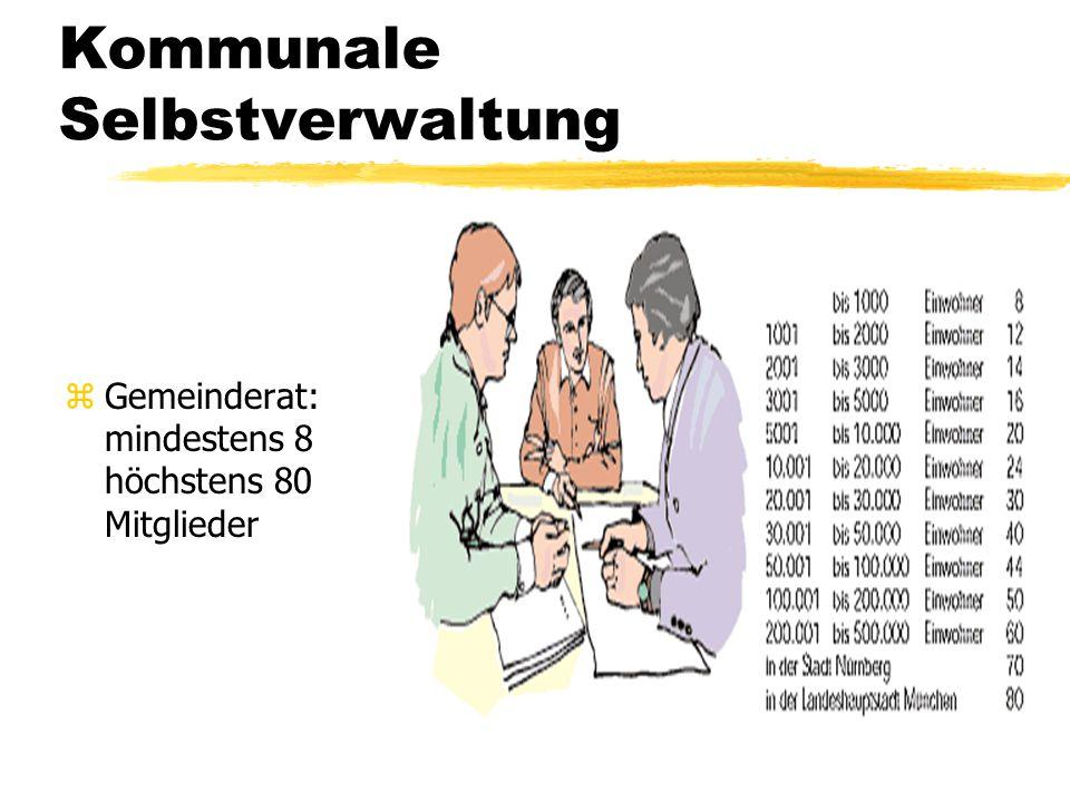 Kommunale Selbstverwaltung zGemeinderat: mindestens 8 höchstens 80 Mitglieder