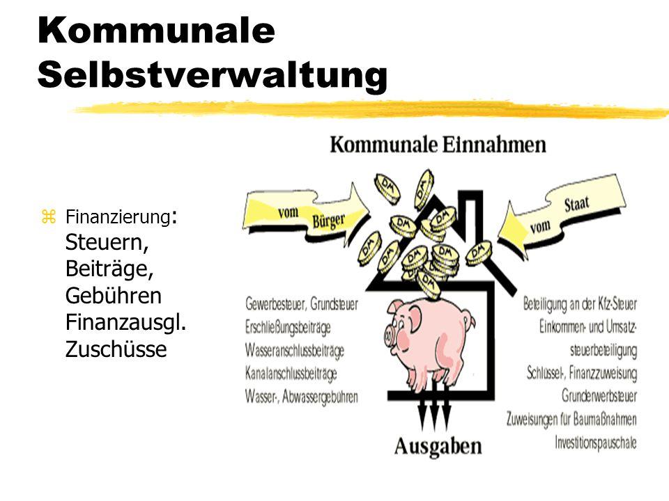 Kommunale Selbstverwaltung zFinanzierung : Steuern, Beiträge, Gebühren Finanzausgl. Zuschüsse