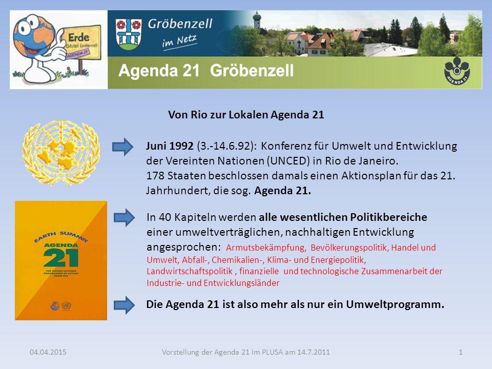 Von Rio zur Lokalen Agenda 21 Die Agenda 21 ist also mehr als nur ein Umweltprogramm. 04.04.2015Vorstellung der Agenda 21 im PLUSA am 14.7.20111 Juni