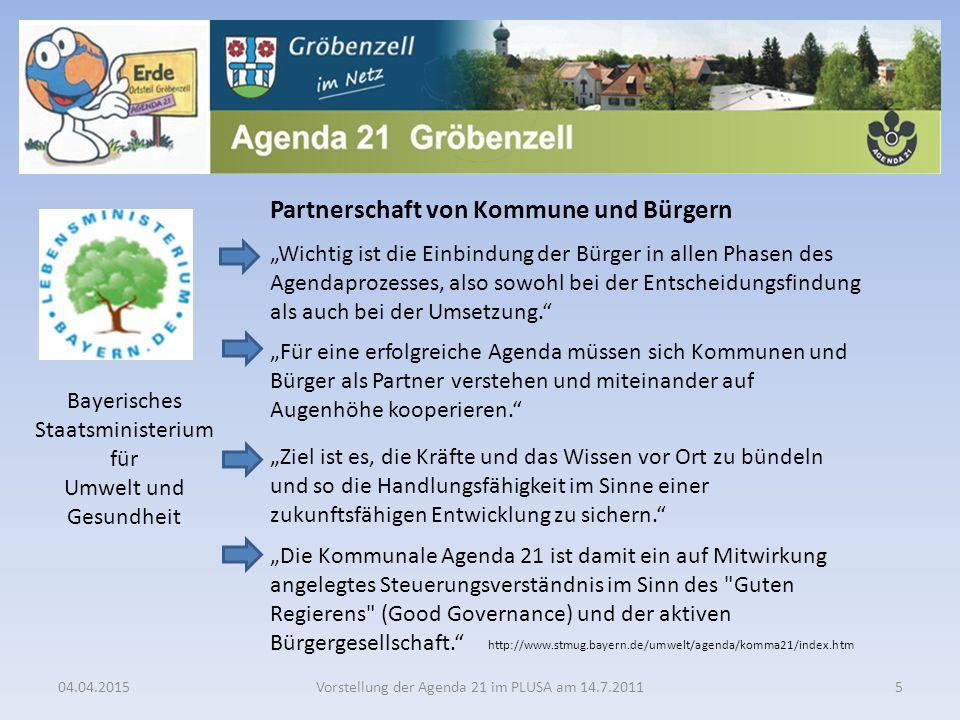 """04.04.2015Vorstellung der Agenda 21 im PLUSA am 14.7.20115 Partnerschaft von Kommune und Bürgern """"Wichtig ist die Einbindung der Bürger in allen Phase"""