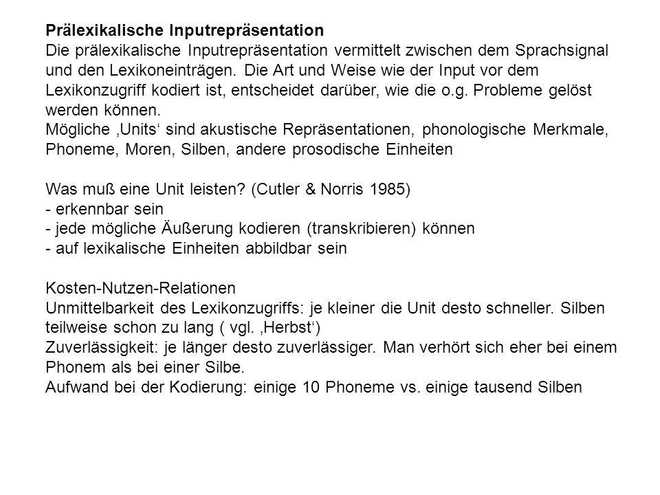 Prälexikalische Inputrepräsentation Die prälexikalische Inputrepräsentation vermittelt zwischen dem Sprachsignal und den Lexikoneinträgen. Die Art und