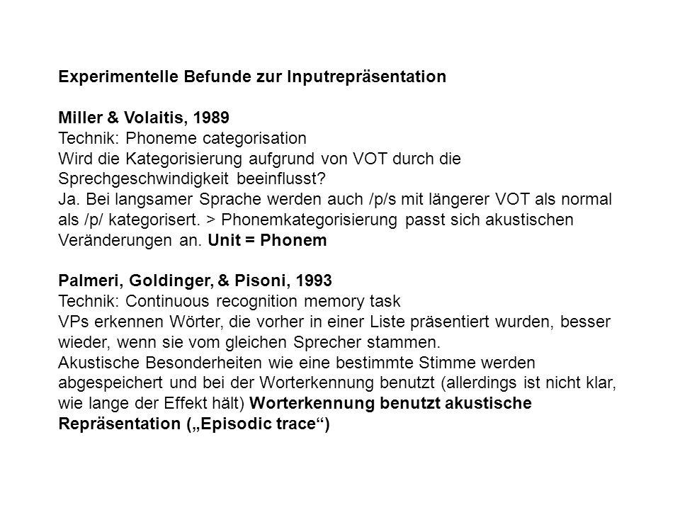 Experimentelle Befunde zur Inputrepräsentation Miller & Volaitis, 1989 Technik: Phoneme categorisation Wird die Kategorisierung aufgrund von VOT durch