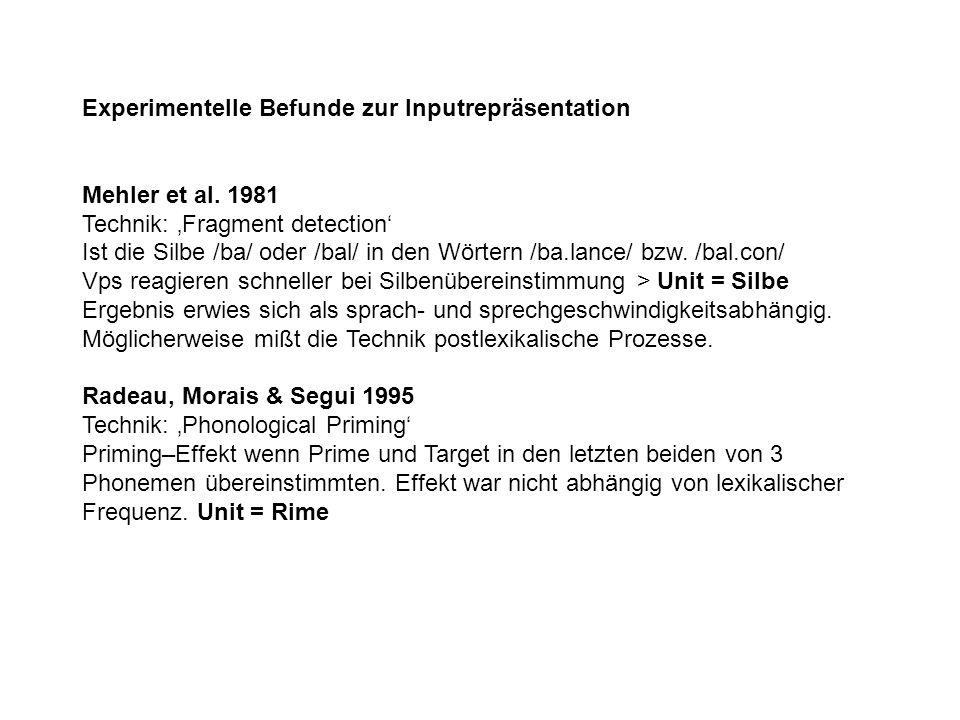 Experimentelle Befunde zur Inputrepräsentation Mehler et al. 1981 Technik: 'Fragment detection' Ist die Silbe /ba/ oder /bal/ in den Wörtern /ba.lance