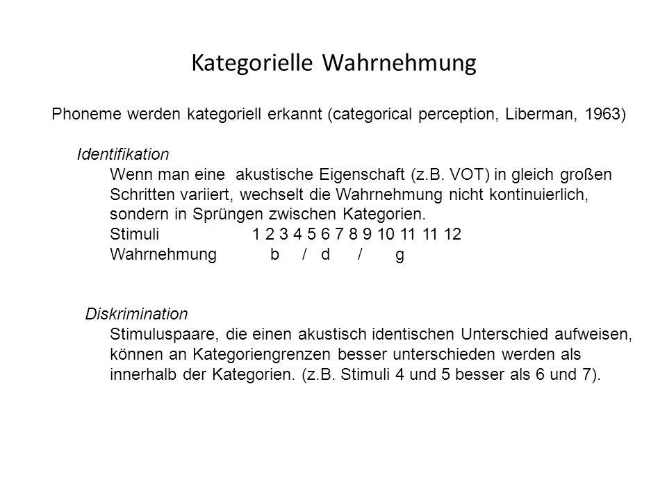 Kategorielle Wahrnehmung Phoneme werden kategoriell erkannt (categorical perception, Liberman, 1963) Identifikation Wenn man eine akustische Eigenschaft (z.B.