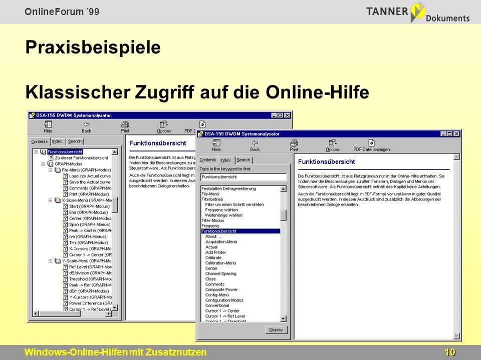 OnlineForum ´99 10Windows-Online-Hilfen mit Zusatznutzen Praxisbeispiele Klassischer Zugriff auf die Online-Hilfe