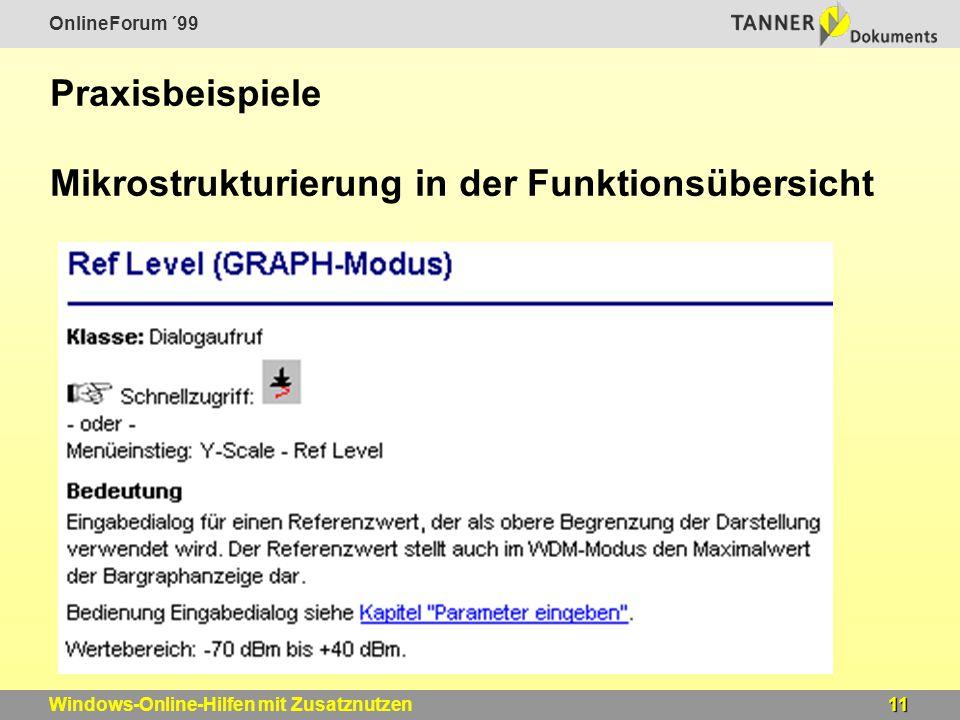 OnlineForum ´99 11Windows-Online-Hilfen mit Zusatznutzen Praxisbeispiele Mikrostrukturierung in der Funktionsübersicht