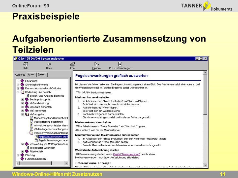 OnlineForum ´99 14Windows-Online-Hilfen mit Zusatznutzen Praxisbeispiele Aufgabenorientierte Zusammensetzung von Teilzielen