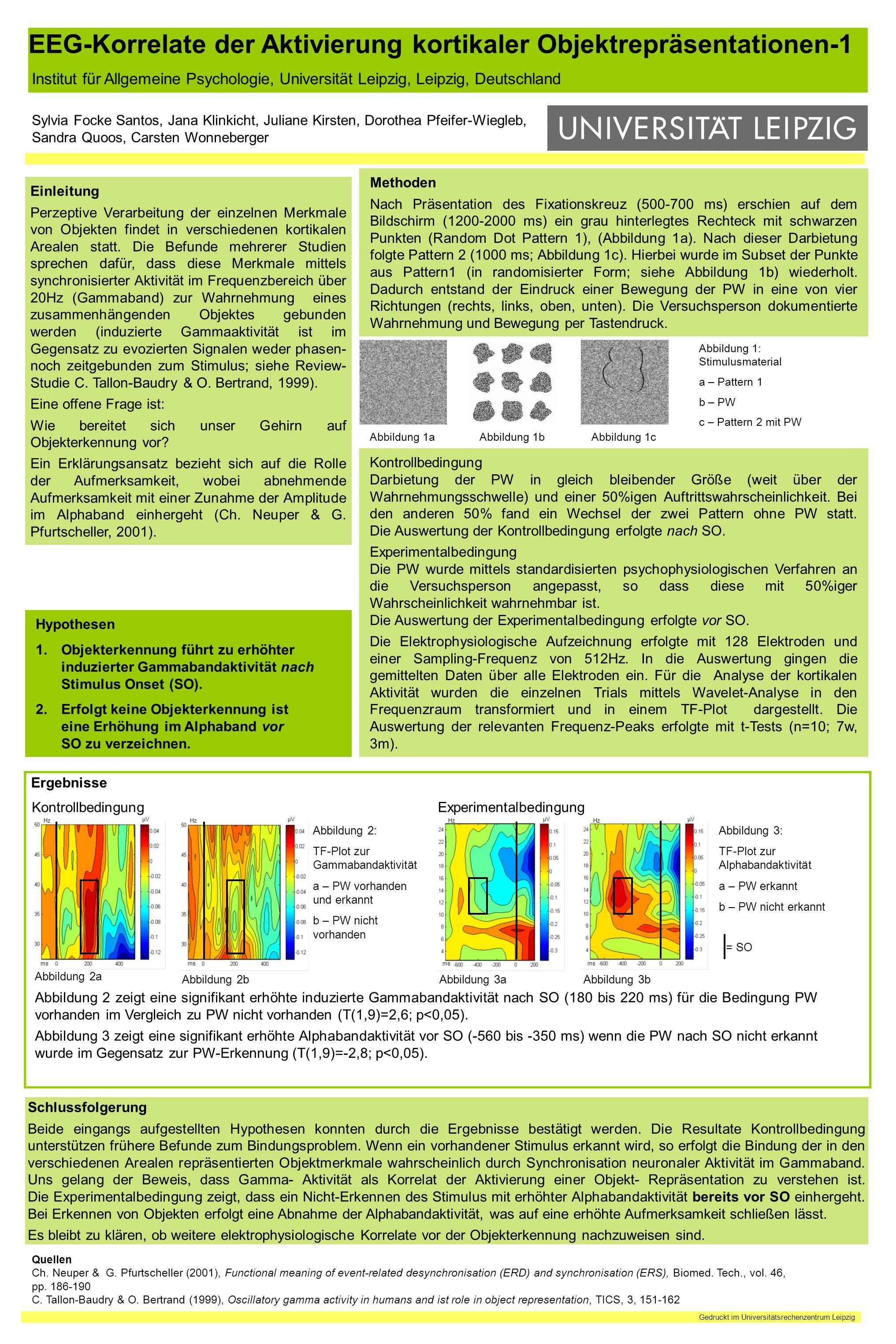 EEG-Korrelate der Aktivierung kortikaler Objektrepräsentationen-1 Institut für Allgemeine Psychologie, Universität Leipzig, Leipzig, Deutschland Sylvi