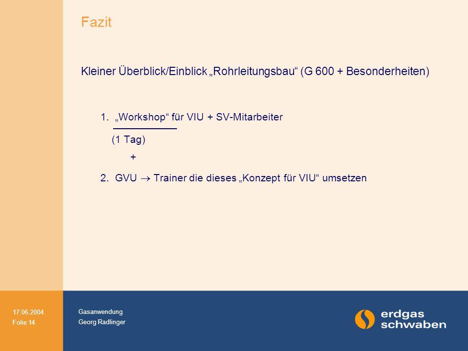"""Gasanwendung Georg Radlinger 17.06.2004 Folie 14 Kleiner Überblick/Einblick """"Rohrleitungsbau"""" (G 600 + Besonderheiten) 1. """"Workshop"""" für VIU + SV-Mita"""