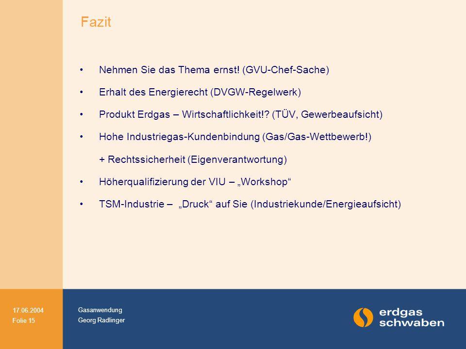 Gasanwendung Georg Radlinger 17.06.2004 Folie 15 Nehmen Sie das Thema ernst! (GVU-Chef-Sache) Erhalt des Energierecht (DVGW-Regelwerk) Produkt Erdgas