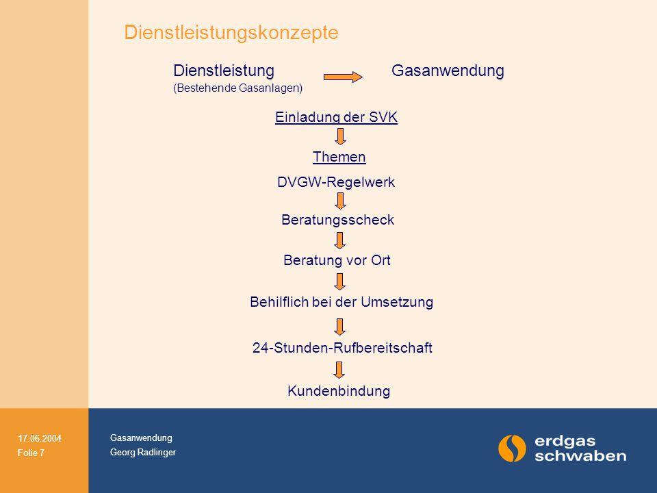 Gasanwendung Georg Radlinger 17.06.2004 Folie 7 Dienstleistung (Bestehende Gasanlagen) Gasanwendung Einladung der SVK Themen DVGW-Regelwerk Beratungss