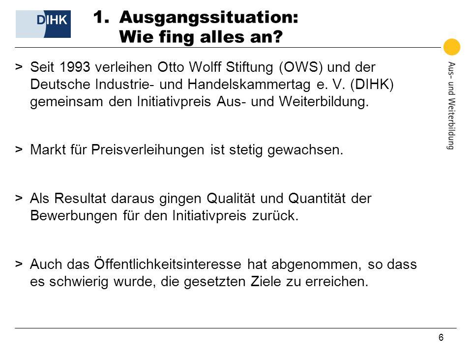 6 1.Ausgangssituation: Wie fing alles an? >Seit 1993 verleihen Otto Wolff Stiftung (OWS) und der Deutsche Industrie- und Handelskammertag e. V. (DIHK)