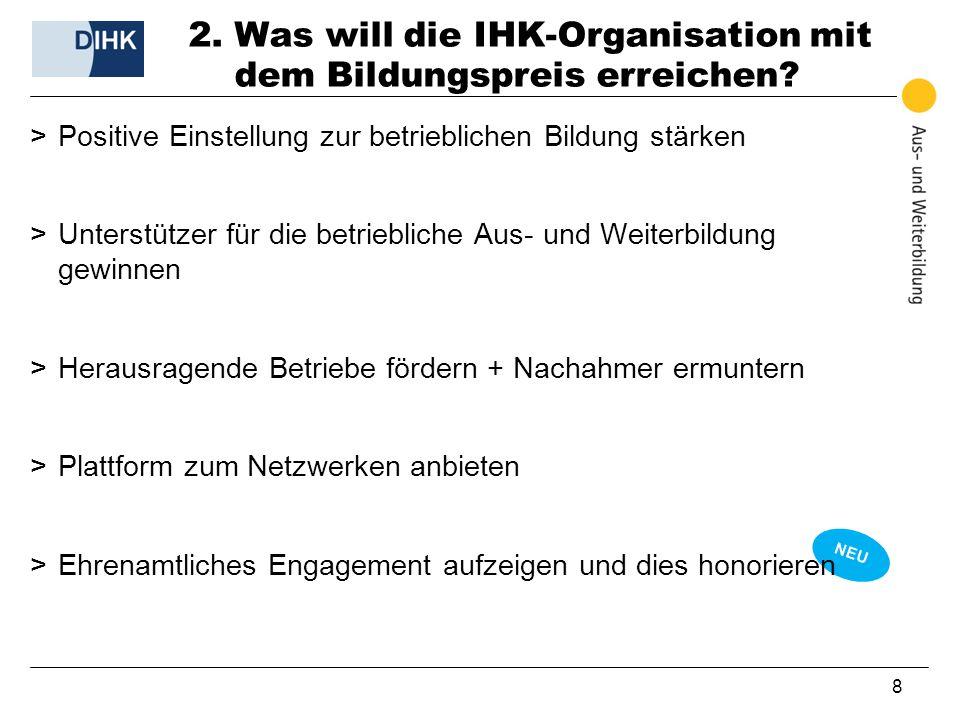 NEU 8 2. Was will die IHK-Organisation mit dem Bildungspreis erreichen? >Positive Einstellung zur betrieblichen Bildung stärken >Unterstützer für die
