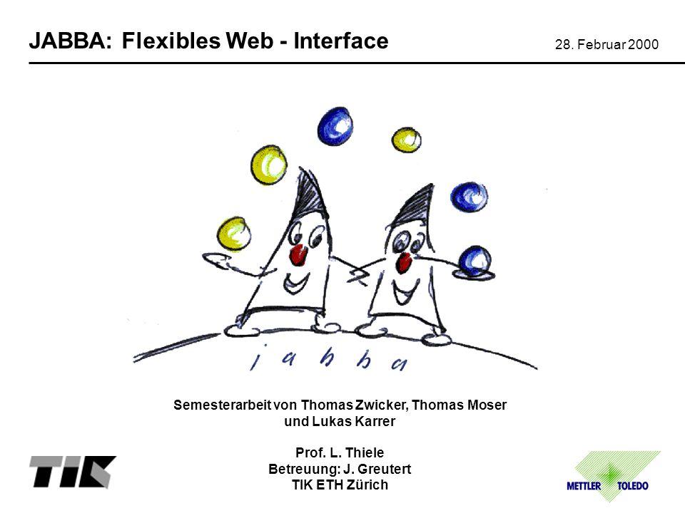 JABBA Konzept Applikation / Applet API JabbaHTTP TCP / IP Device User Process Web Server TCP / IP Ethernet Funktion Kommunikation 7