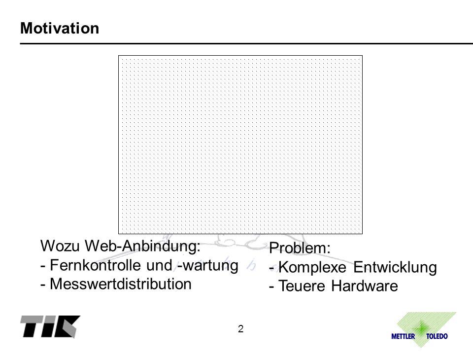 Motivation Wozu Web-Anbindung: - Fernkontrolle und -wartung - Messwertdistribution 2 Problem: - Komplexe Entwicklung - Teuere Hardware