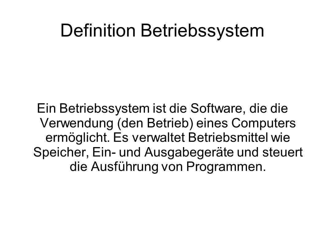 Definition Betriebssystem Ein Betriebssystem ist die Software, die die Verwendung (den Betrieb) eines Computers ermöglicht. Es verwaltet Betriebsmitte