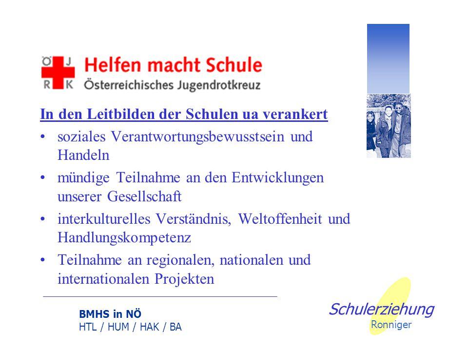 BMHS in NÖ HTL / HUM / HAK / BA Schulerziehung Ronniger Professionalität der Arbeit des ÖJRK- Schulreferenten Unterstützung durch die Schulleitung, Ko