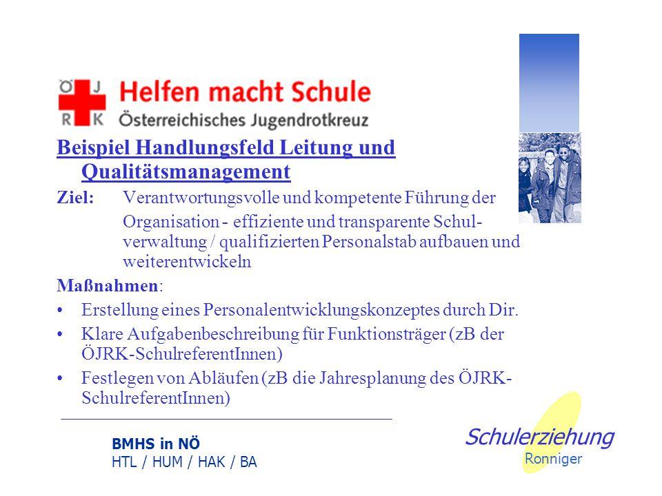 BMHS in NÖ HTL / HUM / HAK / BA Schulerziehung Ronniger Schulische Handlungsfelder- alle mit der ÖJRK-Arbeit betroffen Lehren und Lernen – Fördern der