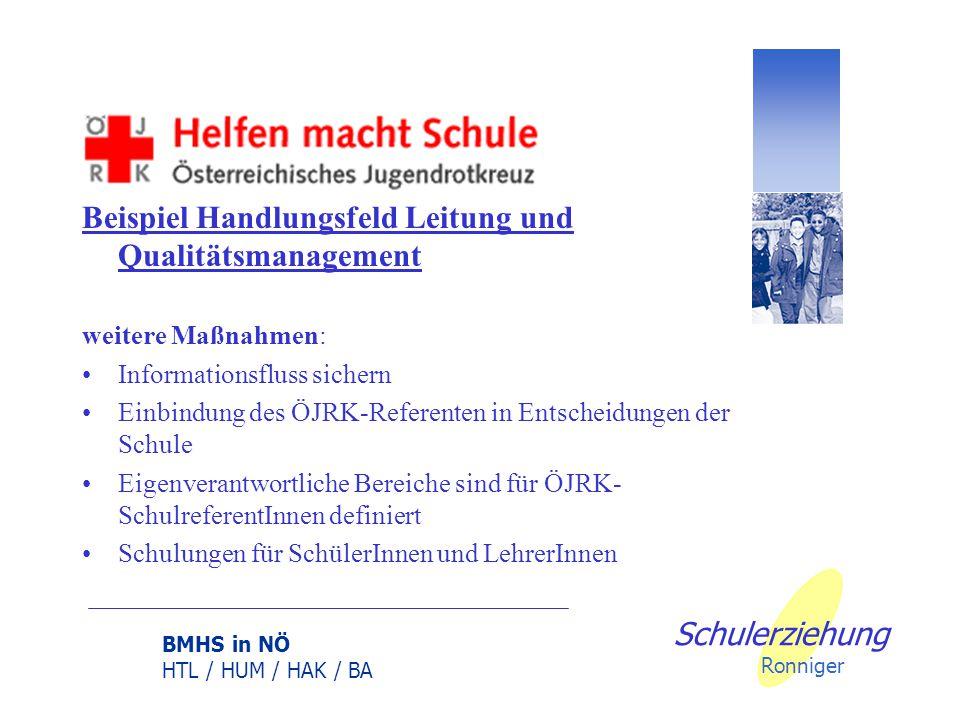 BMHS in NÖ HTL / HUM / HAK / BA Schulerziehung Ronniger Beispiel Handlungsfeld Leitung und Qualitätsmanagement Ziel: Verantwortungsvolle und kompetent