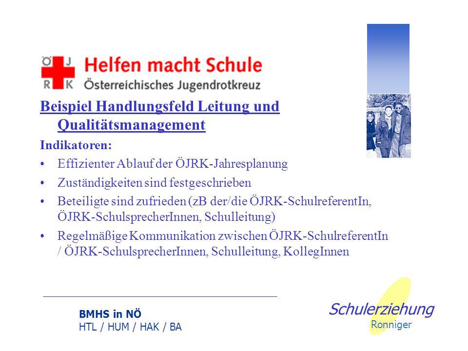 BMHS in NÖ HTL / HUM / HAK / BA Schulerziehung Ronniger Beispiel Handlungsfeld Leitung und Qualitätsmanagement weitere Maßnahmen: Informationsfluss si