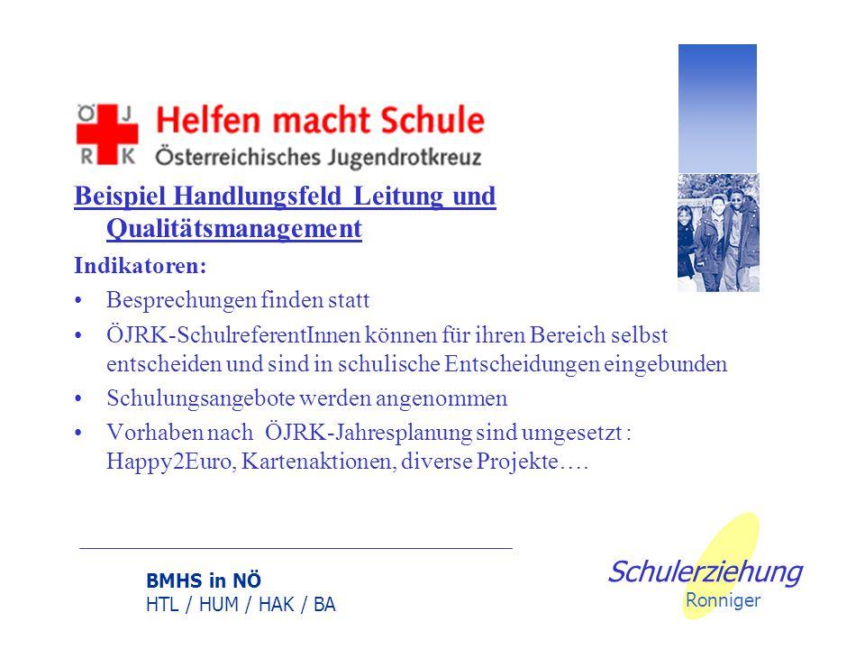 BMHS in NÖ HTL / HUM / HAK / BA Schulerziehung Ronniger Beispiel Handlungsfeld Leitung und Qualitätsmanagement Indikatoren: Effizienter Ablauf der ÖJR