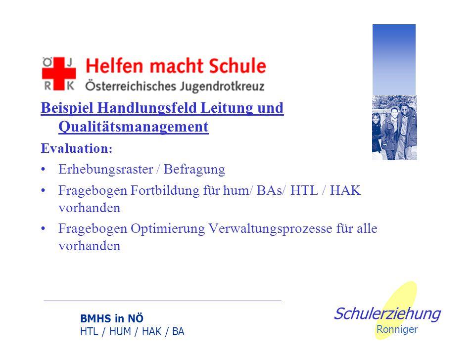 BMHS in NÖ HTL / HUM / HAK / BA Schulerziehung Ronniger Beispiel Handlungsfeld Leitung und Qualitätsmanagement Evaluation : Erhebungsraster / Befragung Fragebogen Fortbildung für hum/ BAs/ HTL / HAK vorhanden Fragebogen Optimierung Verwaltungsprozesse für alle vorhanden