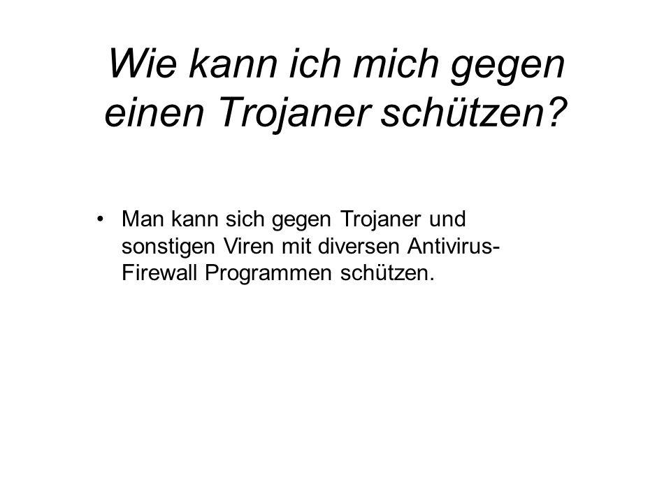 Man kann sich gegen Trojaner und sonstigen Viren mit diversen Antivirus- Firewall Programmen schützen.