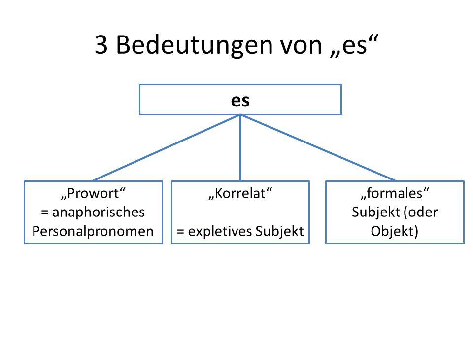"3 Bedeutungen von ""es"" es ""Prowort"" = anaphorisches Personalpronomen ""Korrelat"" = expletives Subjekt ""formales"" Subjekt (oder Objekt)"