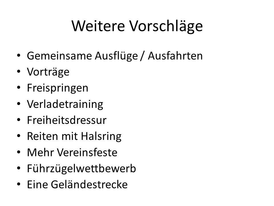 Weitere Vorschläge Gemeinsame Ausflüge / Ausfahrten Vorträge Freispringen Verladetraining Freiheitsdressur Reiten mit Halsring Mehr Vereinsfeste Führz