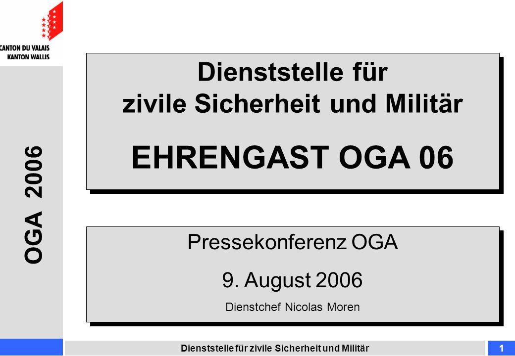 Organigramm DZSM Dienststelle für zivile Sicherheit und Militär2 OGA 2006 Dienstchef Nicolas MOREN Adjunkt / Stv.
