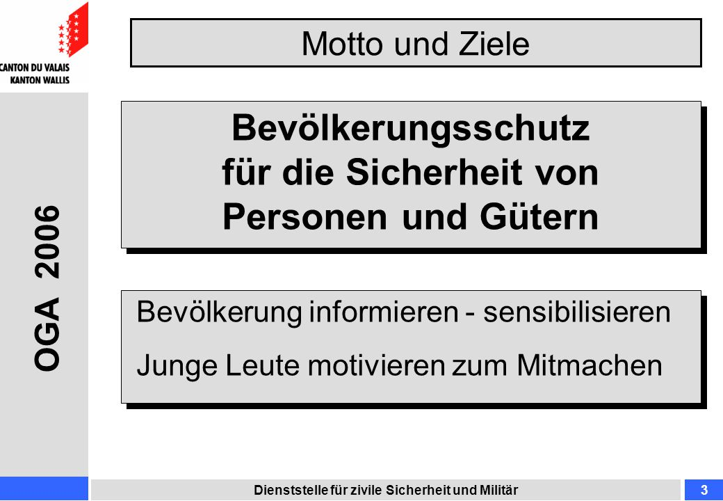 Motto und Ziele Dienststelle für zivile Sicherheit und Militär3 Bevölkerungsschutz für die Sicherheit von Personen und Gütern Bevölkerung informieren