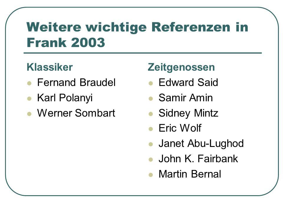 Weitere wichtige Referenzen in Frank 2003 Klassiker Fernand Braudel Karl Polanyi Werner Sombart Zeitgenossen Edward Said Samir Amin Sidney Mintz Eric