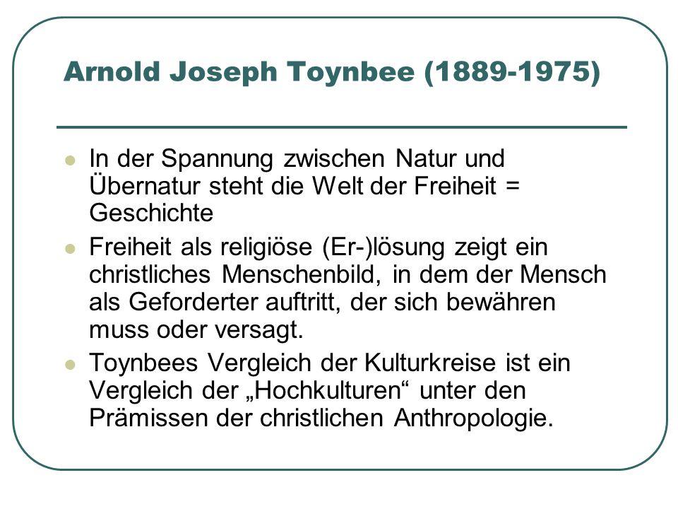 Arnold Joseph Toynbee (1889-1975) In der Spannung zwischen Natur und Übernatur steht die Welt der Freiheit = Geschichte Freiheit als religiöse (Er-)lö