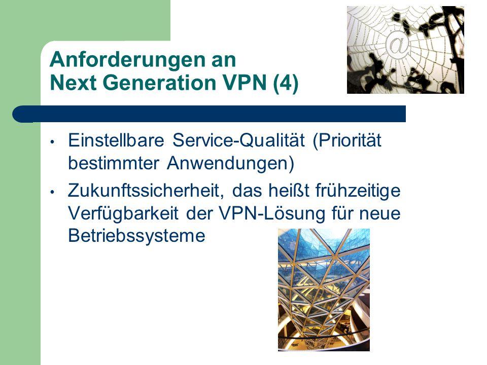 Anforderungen an Next Generation VPN (4) Einstellbare Service-Qualität (Priorität bestimmter Anwendungen) Zukunftssicherheit, das heißt frühzeitige Verfügbarkeit der VPN-Lösung für neue Betriebssysteme