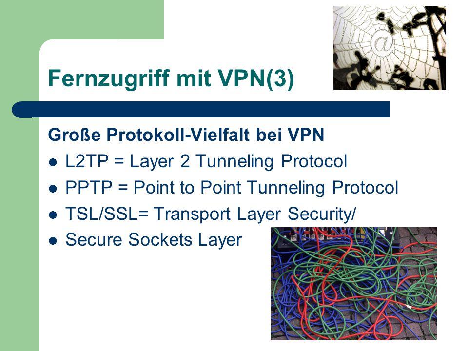 Fernzugriff mit VPN(3) Große Protokoll-Vielfalt bei VPN L2TP = Layer 2 Tunneling Protocol PPTP = Point to Point Tunneling Protocol TSL/SSL= Transport