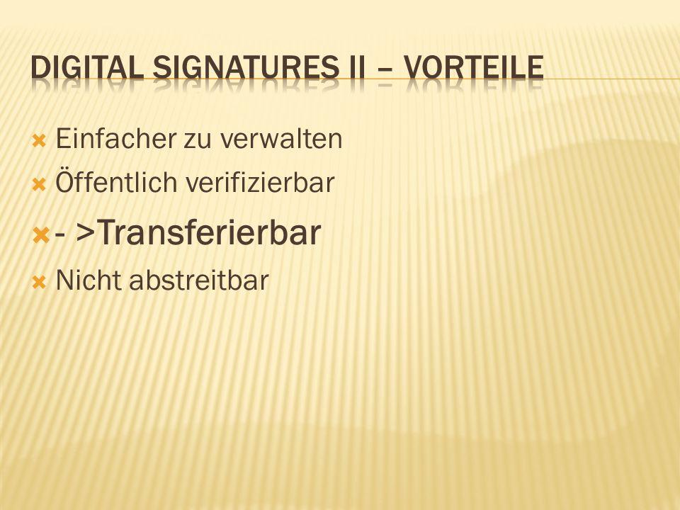  Einfacher zu verwalten  Öffentlich verifizierbar  - >Transferierbar  Nicht abstreitbar