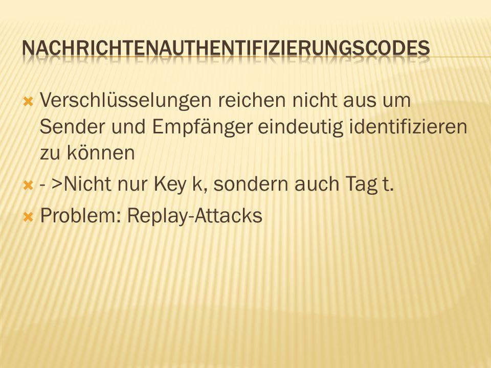  Verschlüsselungen reichen nicht aus um Sender und Empfänger eindeutig identifizieren zu können  - >Nicht nur Key k, sondern auch Tag t.  Problem: