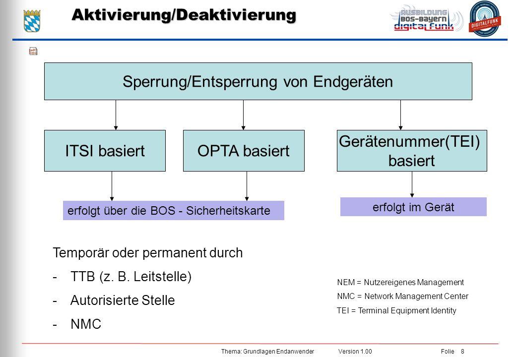 Thema: Grundlagen Endanwender Version 1.00 Folie 8Aktivierung/Deaktivierung Sperrung/Entsperrung von Endgeräten ITSI basiert Gerätenummer(TEI) basiert