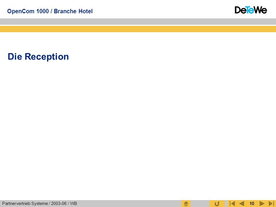 Partnervertrieb Systeme / 2003-06 / WB OpenCom 1000 / Branche Hotel 10 Die Reception
