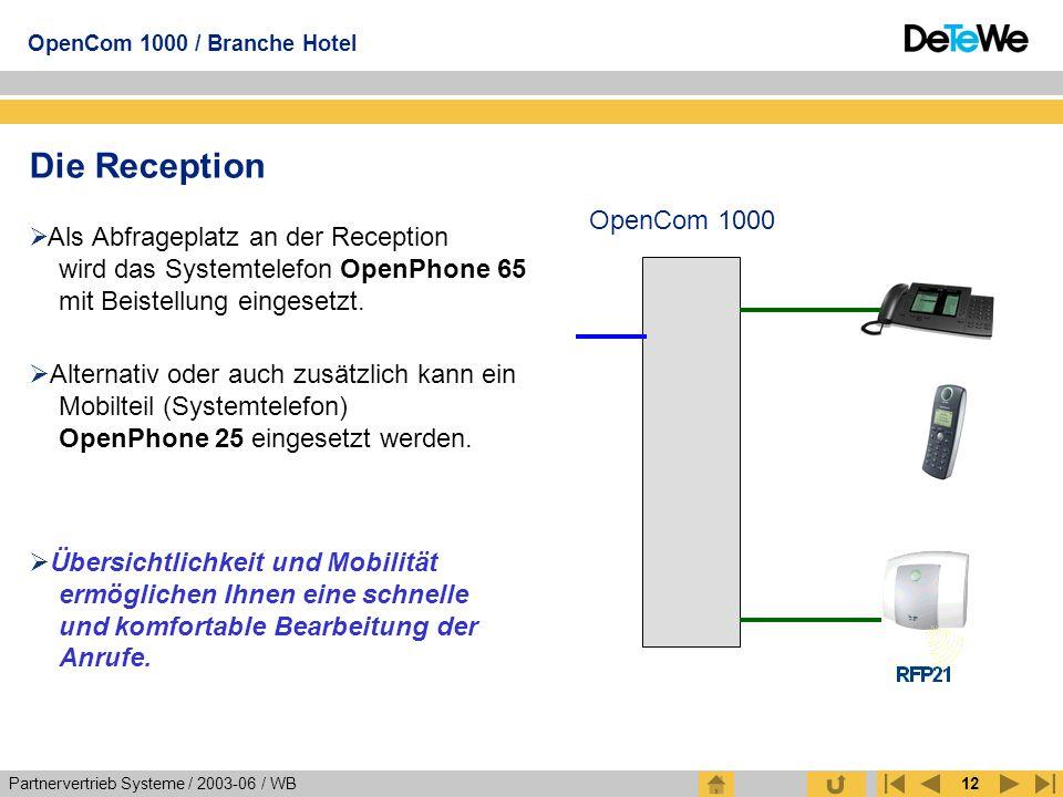 Partnervertrieb Systeme / 2003-06 / WB OpenCom 1000 / Branche Hotel 12 Die Reception  Als Abfrageplatz an der Reception wird das Systemtelefon OpenPh