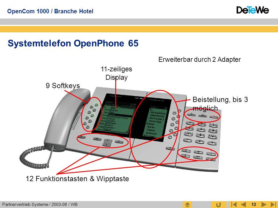 Partnervertrieb Systeme / 2003-06 / WB OpenCom 1000 / Branche Hotel 13 Systemtelefon OpenPhone 65 Erweiterbar durch 2 Adapter 11-zeiliges Display 9 So